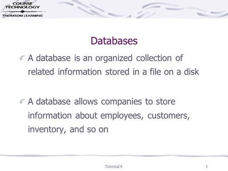 Tutorial 91 Databases A database is an organized collection of related information stored in a file on a disk A database allows companies to store information.