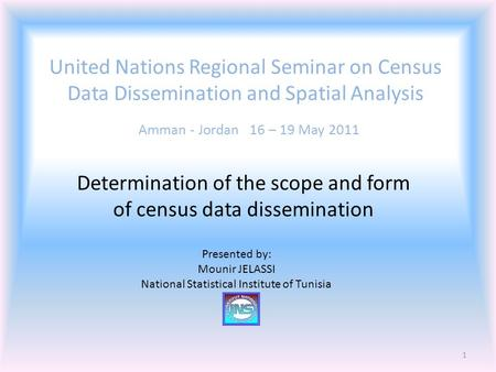 United Nations Regional Seminar on Census Data Dissemination and Spatial Analysis Amman - Jordan 16 – 19 May 2011 Determination of the scope and form of.