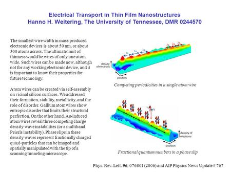 Electrical Transport in Thin Film Nanostructures Hanno H. Weitering, The University of Tennessee, DMR 0244570 Competing periodicities in a single atom.