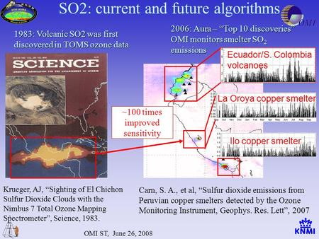 "OMI ST, June 26, 2008 Krueger, AJ, ""Sighting of El Chichon Sulfur Dioxide Clouds with the Nimbus 7 Total Ozone Mapping Spectrometer"", Science, 1983. 2006:"