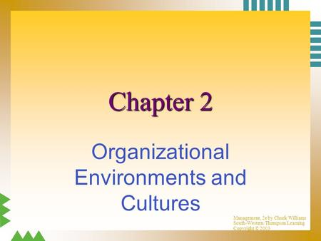 Management, 2e by Chuck Williams South-Western/Thompson Learning Copyright © 2003 Chapter 2 Organizational Environments and Cultures.