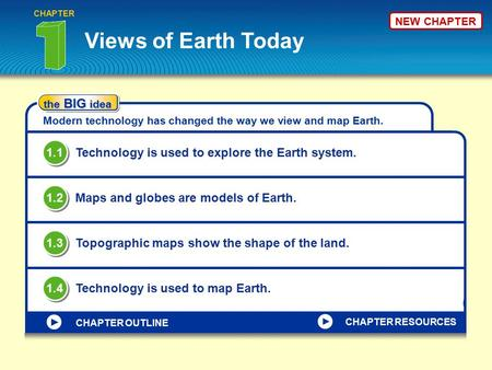 NEW CHAPTER Views of Earth Today CHAPTER the BIG idea Modern technology has changed the way we view and map Earth. Technology is used to explore the Earth.