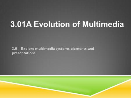 3.01 Explore multimedia systems, elements, and presentations. 3.01A Evolution of Multimedia.