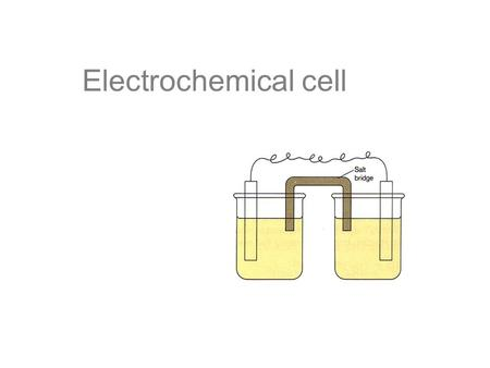 Electrochemical cell. Parts of a Voltaic Cell The electrochemical cell is actually composed to two half cells. Each half cell consists of one conducting.