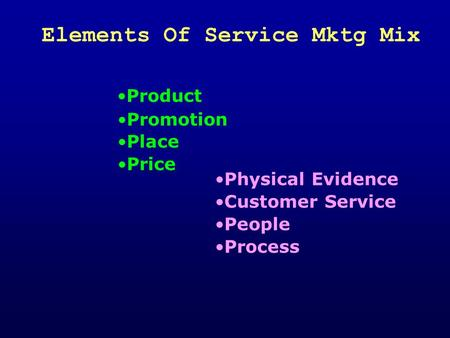 Elements Of Service Mktg Mix Product Physical Evidence Process Customer Service People Place Price Promotion.