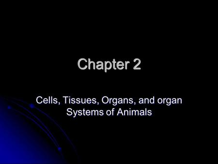 Chapter 2 Cells, Tissues, Organs, and organ Systems of Animals.