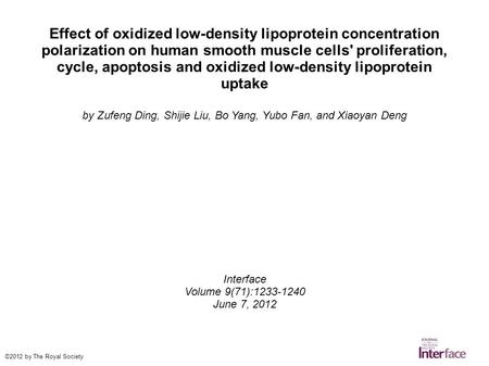 Effect of oxidized low-density lipoprotein concentration polarization on human smooth muscle cells' proliferation, cycle, apoptosis and oxidized low-density.