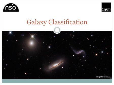 Galaxy Classification Image Credit: NASA. Theory Presentation The aim of this project will be to introduce students to the concept of varying galactic.