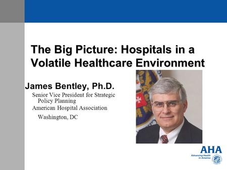 The Big Picture: Hospitals in a Volatile Healthcare Environment James Bentley, Ph.D. Senior Vice President for Strategic Policy Planning American Hospital.