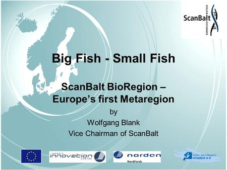 Big Fish - Small Fish ScanBalt BioRegion – Europe's first Metaregion by Wolfgang Blank Vice Chairman of ScanBalt.
