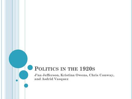P OLITICS IN THE 1920 S J'na Jefferson, Kristina Owens, Chris Conway, and Asdrid Vasquez.