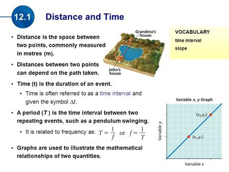 Distance is the space between two points, commonly measured in metres (m). Distances between two points can depend on the path taken. Time (t) is the duration.