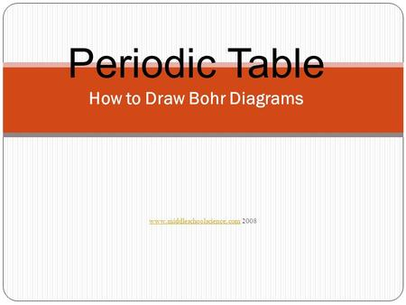 Www.middleschoolscience.comwww.middleschoolscience.com 2008 Periodic Table How to Draw Bohr Diagrams.