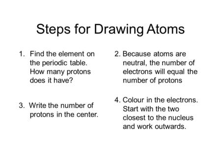 Steps for Drawing Atoms 1.Find the element on the periodic table. How many protons does it have? 2. Because atoms are neutral, the number of electrons.