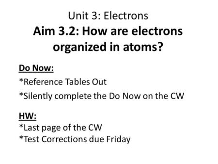Unit 3: Electrons Aim 3.2: How are electrons organized in atoms? Do Now: *Reference Tables Out *Silently complete the Do Now on the CW HW: *Last page of.