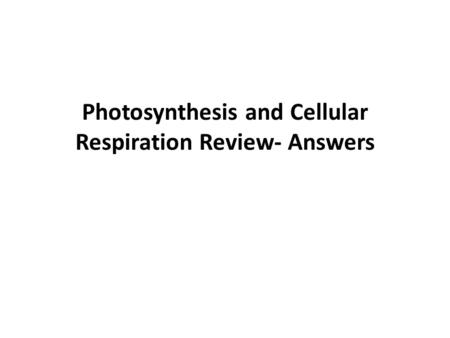 Photosynthesis and Cellular Respiration Review- Answers.