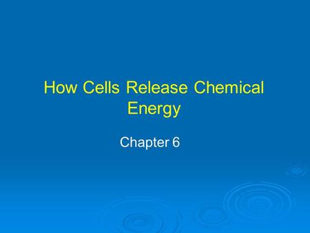 How Cells Release Chemical Energy Chapter 6. Organelles where aerobic respiration produces energy molecule ATP Mitochondrial diseases affect body's ability.