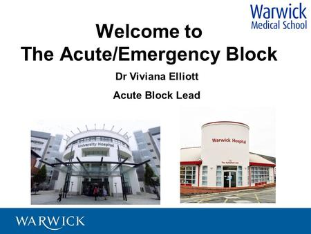 Welcome to The Acute/Emergency Block Dr Viviana Elliott Acute Block Lead.