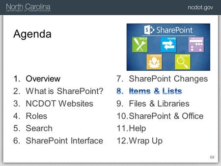 Agenda 69 1.Overview 2.What is SharePoint? 3.NCDOT Websites 4.Roles 5.Search 6.SharePoint Interface.