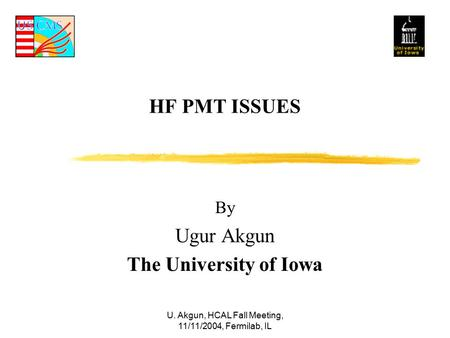U. Akgun, HCAL Fall Meeting, 11/11/2004, Fermilab, IL HF PMT ISSUES By Ugur Akgun The University of Iowa.