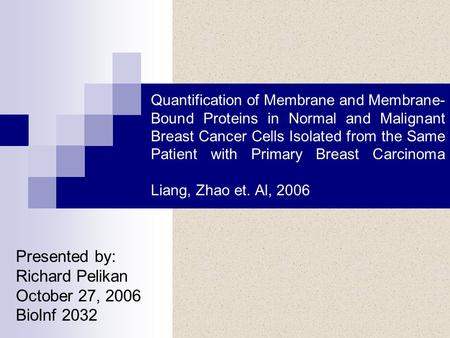 Quantification of Membrane and Membrane- Bound Proteins in Normal and Malignant Breast Cancer Cells Isolated from the Same Patient with Primary Breast.