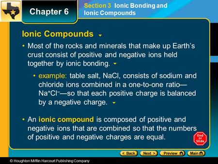 © Houghton Mifflin Harcourt Publishing Company Ionic Compounds Most of the rocks and minerals that make up Earth's crust consist of positive and negative.