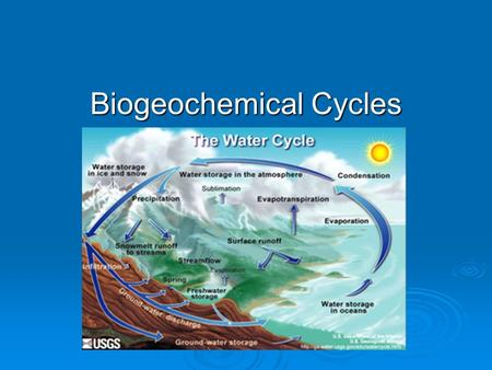 "Biogeochemical Cycles. What is a ""biogeochemical cycle""?  BIO = ""life""  GEO = ""earth""  CHEMICAL = ""elements – C, O, N, P, S a cycling of nutrients."