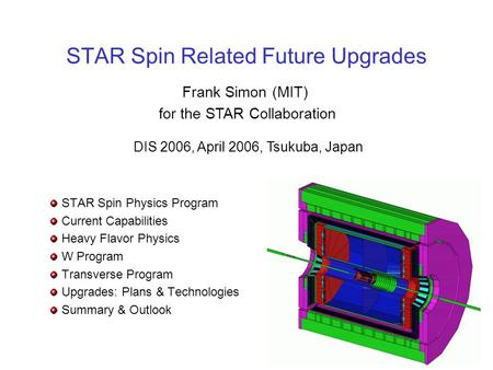 STAR Spin Related Future Upgrades STAR Spin Physics Program Current Capabilities Heavy Flavor Physics W Program Transverse Program Upgrades: Plans & Technologies.