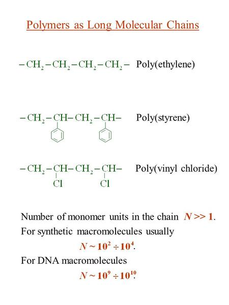 Number of monomer units in the chain N >> 1. For synthetic macromolecules usually ~. For DNA macromolecules ~. Polymers as Long Molecular Chains Poly(ethylene)