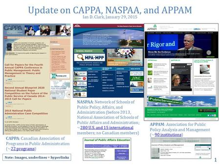Update on CAPPA, NASPAA, and APPAM 1 NASPAA: Network of Schools of Public Policy, Affairs, and Administration (before 2013, National Association of Schools.
