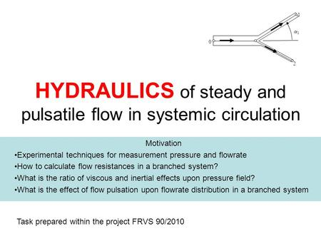 HYDRAULICS of steady and pulsatile flow in systemic circulation Motivation Experimental techniques for measurement pressure and flowrate How to calculate.