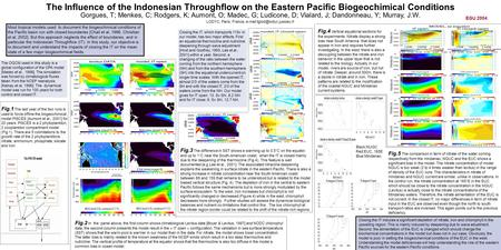 The Influence of the Indonesian Throughflow on the Eastern Pacific Biogeochimical Conditions Fig.1 The last year of the two runs is used to force offline.