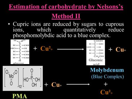 Estimation of carbohydrate by Nelsons's Method II Cupric ions are reduced by sugars to cuprous ions, which quantitatively reduce phosphomolybdic acid to.