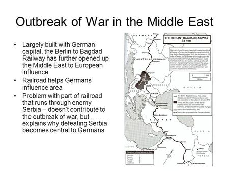 Outbreak of War in the Middle East Largely built with German capital, the Berlin to Bagdad Railway has further opened up the Middle East to European influence.