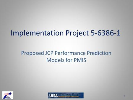 Implementation Project 5-6386-1 Proposed JCP Performance Prediction Models for PMIS 1.