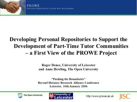 Developing Personal Repositories to Support the Development of Part-Time Tutor Communities – a First View of the PROWE Project Roger.