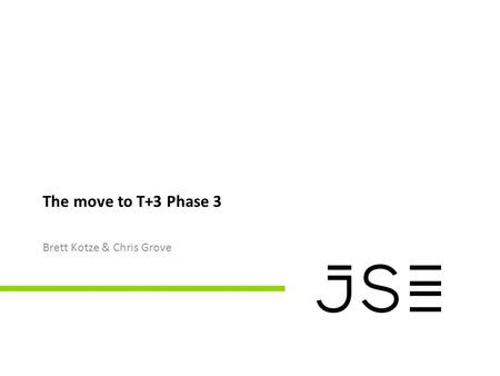 The move to T+3 Phase 3 Brett Kotze & Chris Grove.