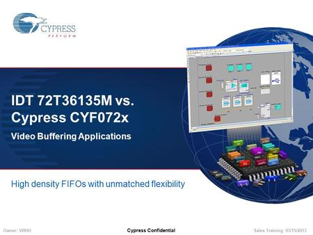 Owner: VBHUSales Training 03/15/2013 Cypress Confidential IDT 72T36135M vs. Cypress CYF072x Video Buffering Applications High density FIFOs with unmatched.