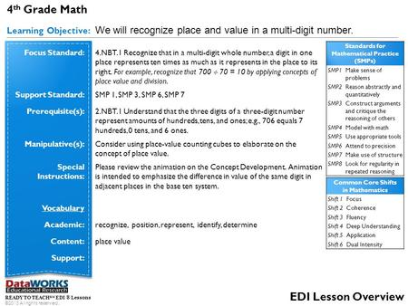 4 th Grade Math Learning Objective: We will recognize place and value in a multi-digit number. READY TO TEACH SM EDI ® Lessons ©2013 All rights reserved.