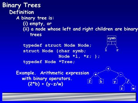 Binary Trees Definition A binary tree is: (i) empty, or (ii) a node whose left and right children are binary trees typedef struct Node Node; struct Node.