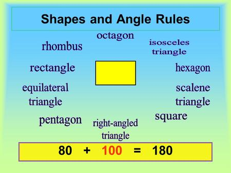 Shapes and Angle Rules 80 + ? = 18080 + 100 = 180.