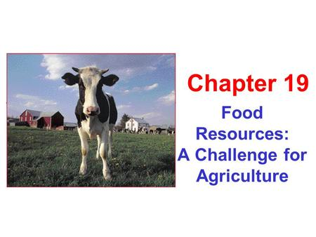 Food Resources: A Challenge for Agriculture Chapter 19.