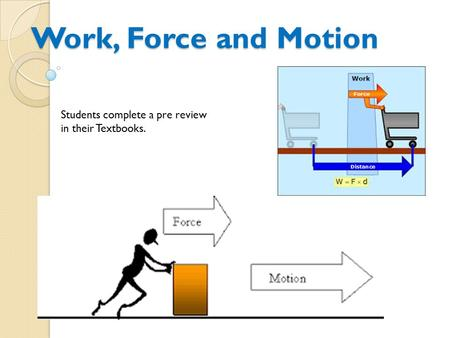 Work, Force and Motion Students complete a pre review in their Textbooks.