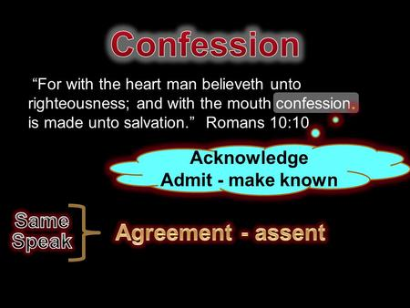 """For with the heart man believeth unto righteousness; and with the mouth confession is made unto salvation."" Romans 10:10 Acknowledge Admit - make known."