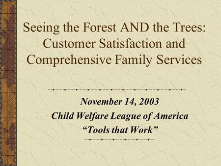 "Seeing the Forest AND the Trees: Customer Satisfaction and Comprehensive Family Services November 14, 2003 Child Welfare League of America ""Tools that."