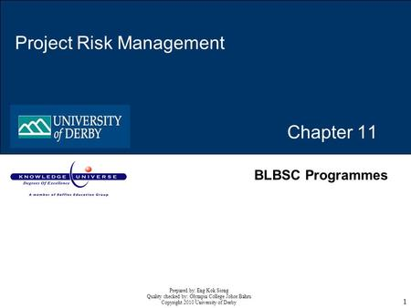 1 Chapter 11 Project Risk Management BLBSC Programmes Prepared by: Eng Kok Siong Quality checked by: Olympia College Johor Bahru Copyright 2010 University.