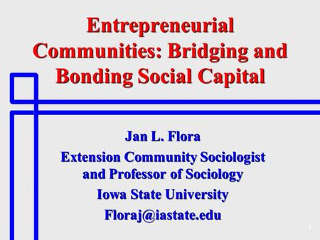 1 Entrepreneurial Communities: Bridging and Bonding Social Capital Jan L. Flora Extension Community Sociologist and Professor of Sociology Iowa State University.