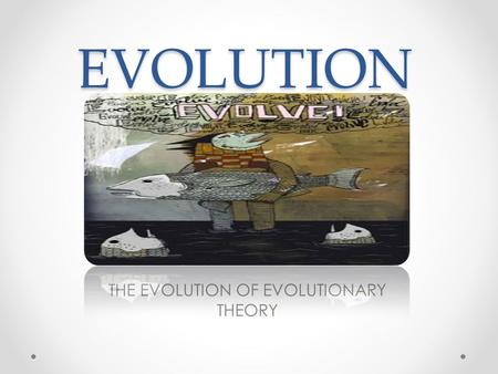EVOLUTION THE EVOLUTION OF EVOLUTIONARY THEORY. BEFORE DARWIN CREATIONISM = first explanation of diversity observed = separate creation of each organism.