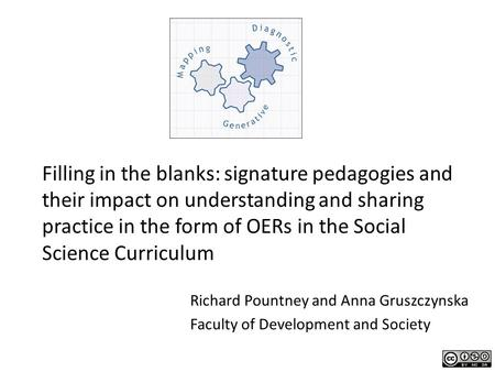 Filling in the blanks: signature pedagogies and their impact on understanding and sharing practice in the form of OERs in the Social Science Curriculum.