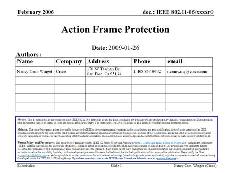 Doc.: IEEE 802.11-06/xxxxr0 Submission Nancy Cam-Winget (Cisco) February 2006 Slide 1 Action Frame Protection Notice: This document has been prepared to.